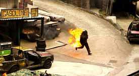 Stunt Man on Movie Set Photo Button