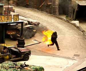 Stunt Man on Movie Set Photo