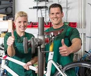 Bicycle Mechanics Working in Bike Shop Photo