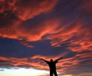Man Looking Skyward Photo