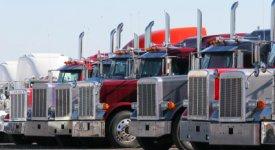 Semi-trailer Trucks Parked Photo