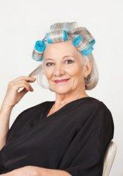 Senior Citizen in Hair Curlers Photo