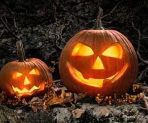 Smiling Jack-O-Lanterns On Halloween Image