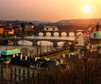 Evening photo of the Charles Bridge in Prague