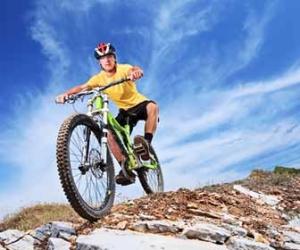 Mountain Biker Riding A Rocky Trail Picture