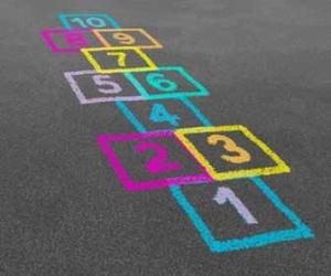 Colorful Hopscotch Board Drawn On Pavement