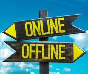 Arrows Point Toward Online or Offline