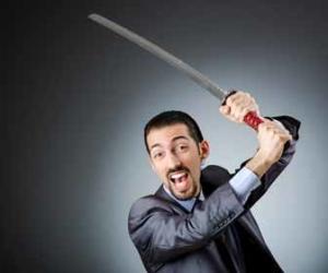 Businessman with ninja sword