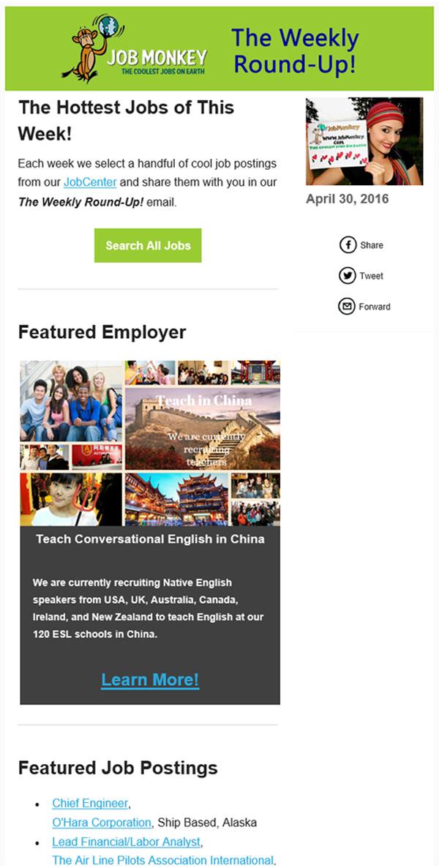 JobMonkey Newsletter Featured Employer Example 1