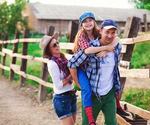 Family Enjoyimng Their Vacation at a Wyoming Dude Ranch