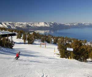 Skier Skiing down the Slopes at a Ski Resort in Lake Tahoe