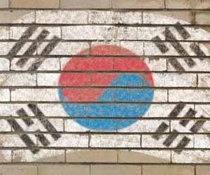 South Korea Flag Painted on Wall