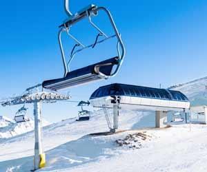 Chairlift terminal at top of ski resort