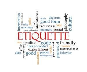 Work cloud around the word Etiquette