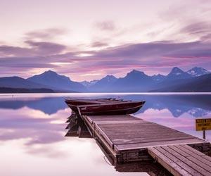 Reflection in Lake McDonald in Glacier National Park in Montana