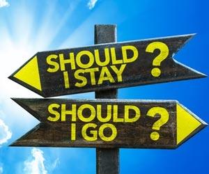 "Opposite signs asking ""should I Stay?"" or ""Should I Go?"""