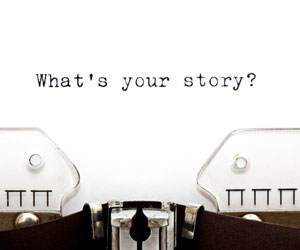 """The words """"what's your story?"""" is typed on a typewriter"""