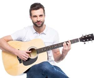 Job seeker playing guitar