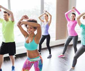 Fitness Dance Instructor Teaches Class