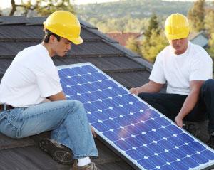 installing solar panels photo